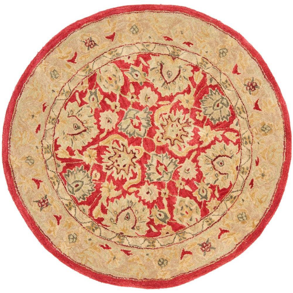 Safavieh Anatolia Red/Ivory 4 ft. x 4 ft. Round Area Rug