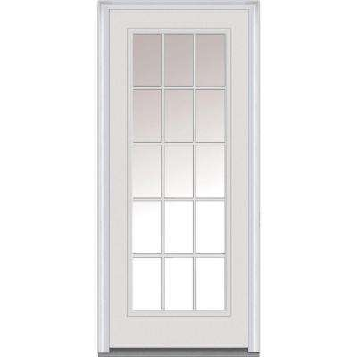30 in. x 80 in. Right-Hand Inswing 15-Lite Clear Classic External Grilles Primed Fiberglass Smooth Prehung Front Door