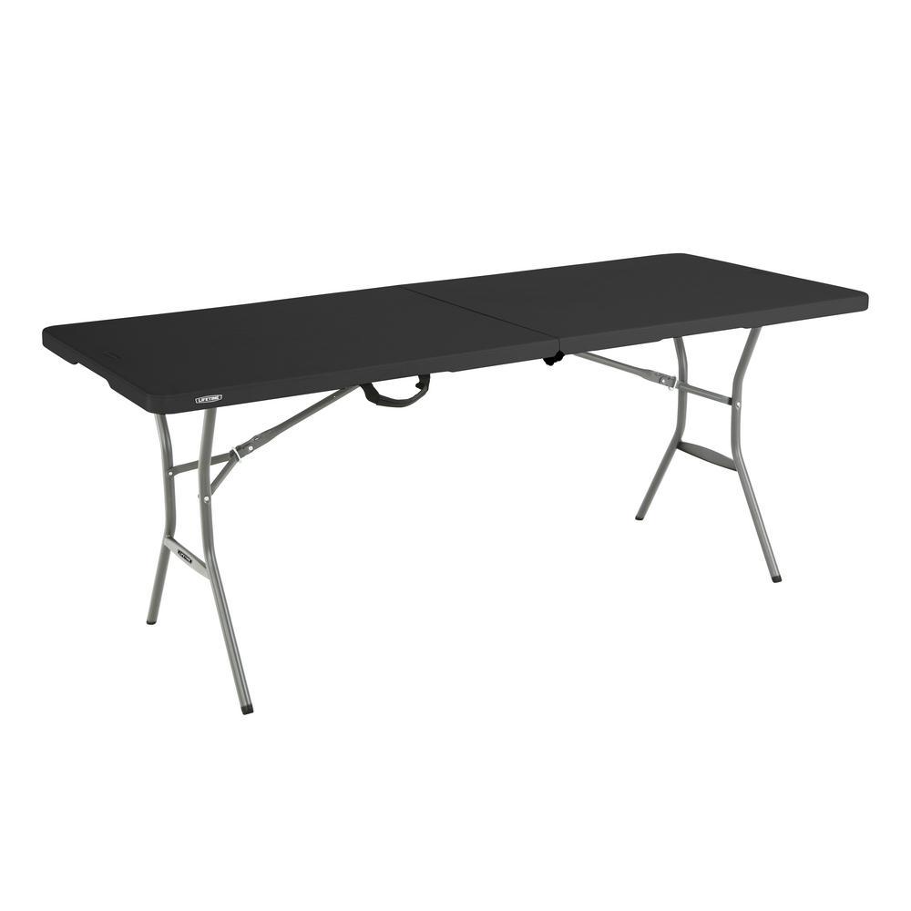 - Lifetime 6 Ft. Black Resin Fold-in-Half Folding Table-80867 - The Home Depot