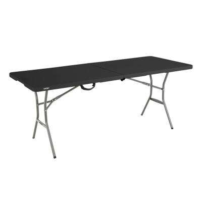 6 ft. Black Resin Fold-in-Half Folding Table