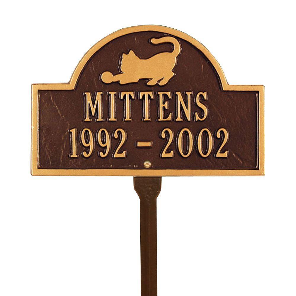 Pet Cat Mini Arch Antique Copper Two Line Lawn Marker