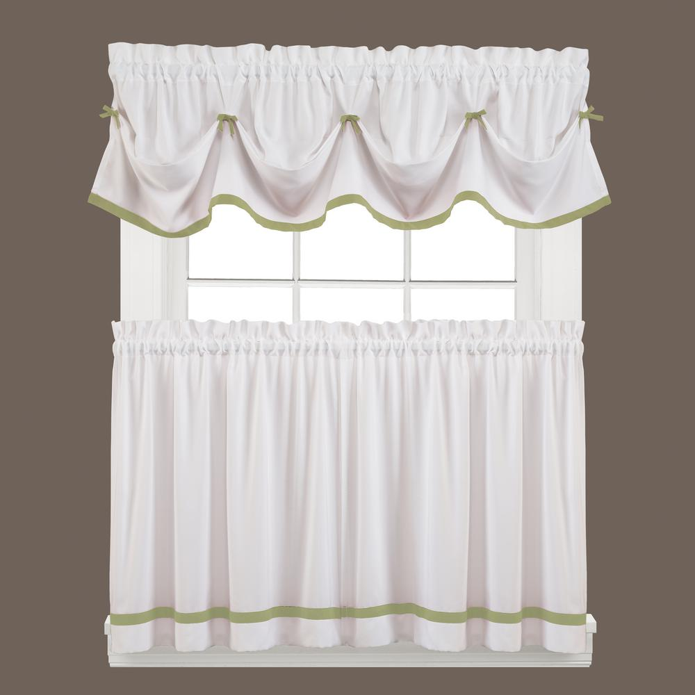 Saturday Knight Semi Opaque Kate 24 In. L Polyester Tier Curtain In Sage (