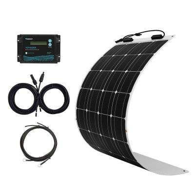 100-Watt Flexible Monocrystalline Solar Panel Kit with 10 Amp Waterproof PWM Charge Controller