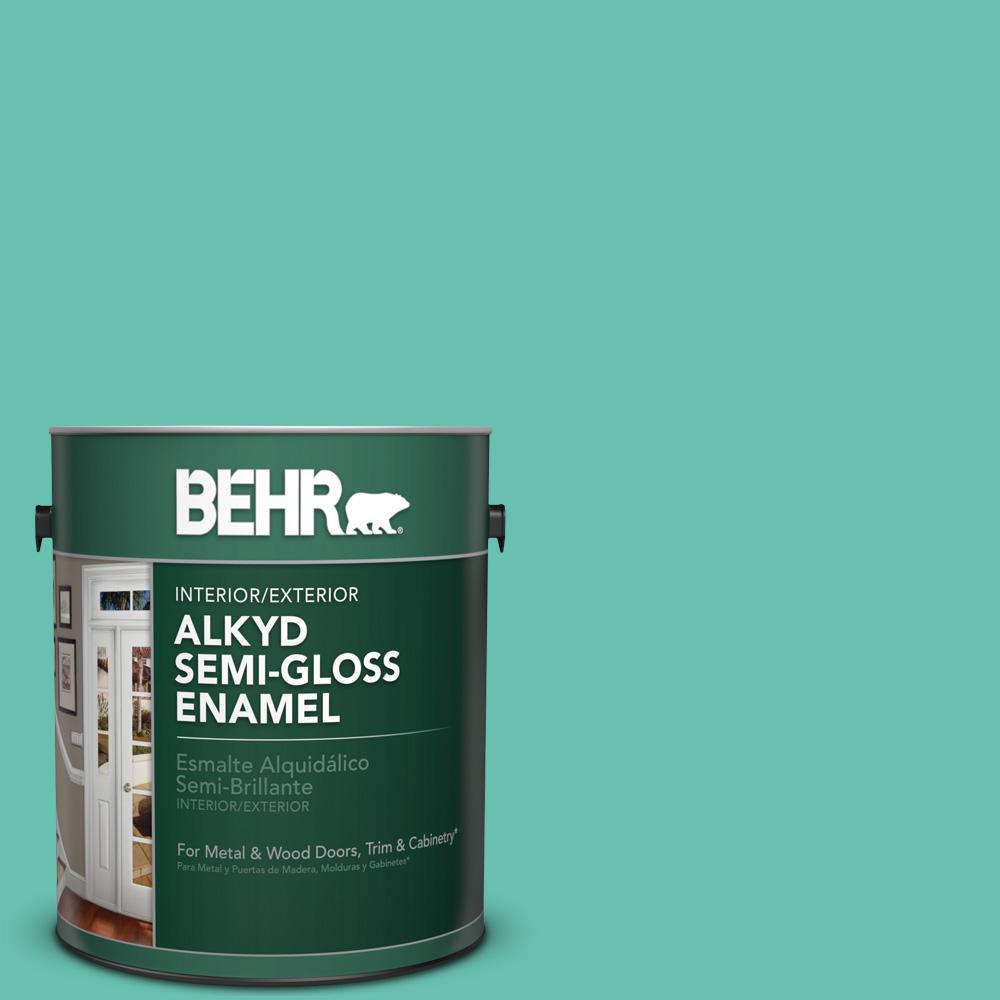 1 gal. #P440-4 March Aquamarine Semi-Gloss Enamel Alkyd Interior/Exterior Paint