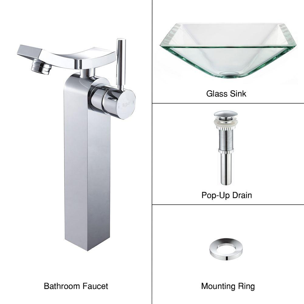 KRAUS Square Glass Vessel Sink in Clear with Unicus Faucet in Chrome