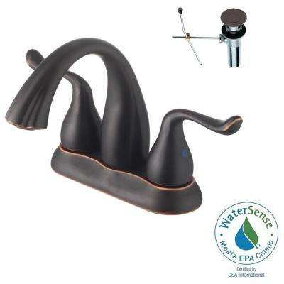 4 in. Centerset 2-Handle Bathroom Faucet in Oil Rubbed Bronze with Pop-Up Drain