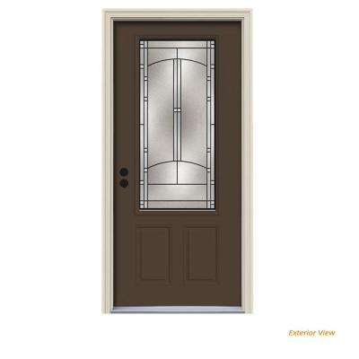 36 in. x 80 in. 3/4 Lite Idlewild Dark Chocolate Painted Steel Prehung Right-Hand Inswing Front Door w/Brickmould
