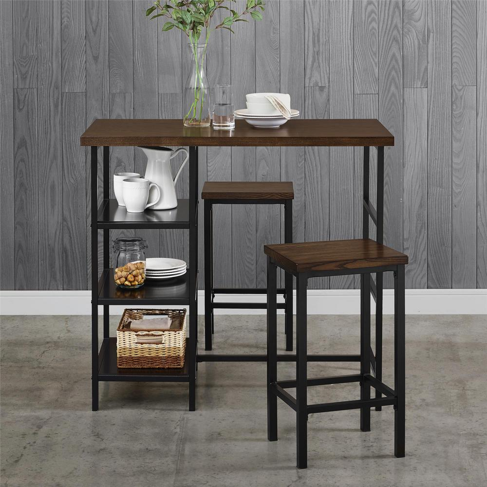 Dorel Living Alana 3 Piece Dark Mahogany Metal Pub Set With