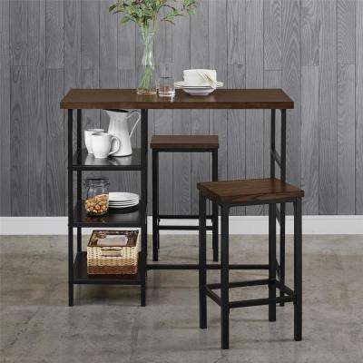 Alana 3-Piece Dark Mahogany Metal Pub Set With Wood Top