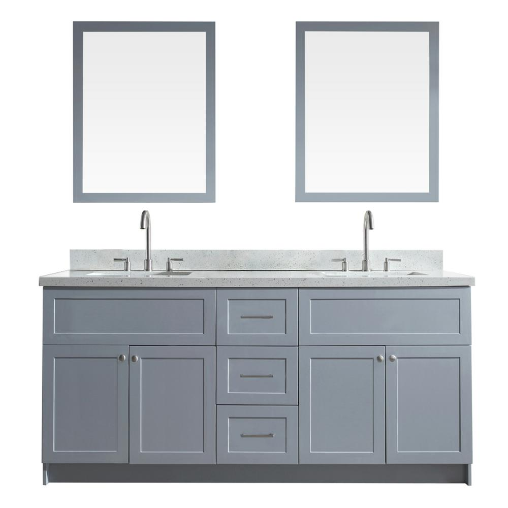 Hamlet 73 in. Bath Vanity in Grey with Quartz Vanity Top