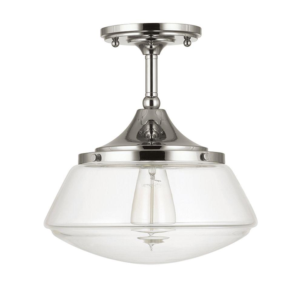 Schoolhouse Lighting Home Depot: Home Decorators Collection 10 In. 1-Light Polished Nickel
