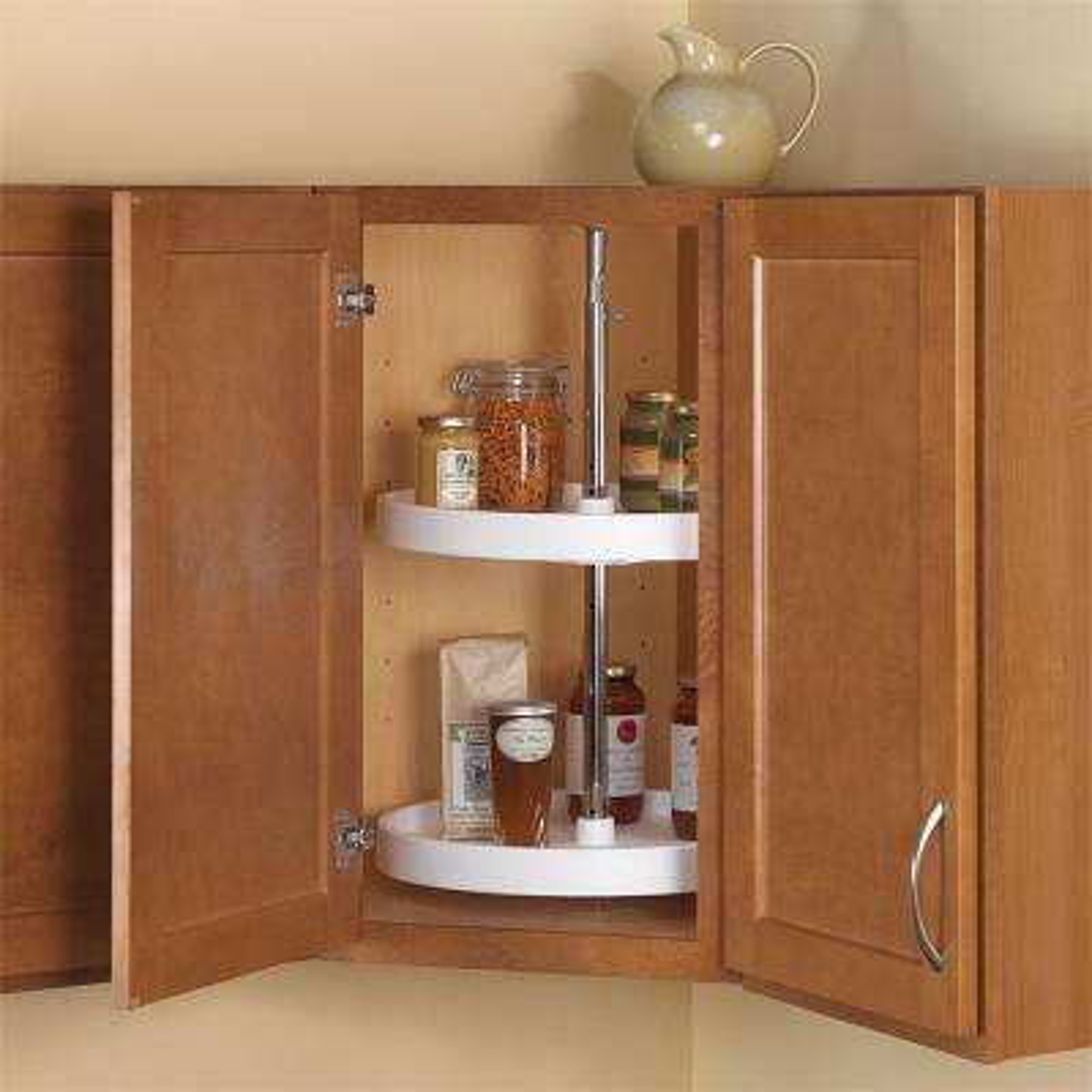 32 in. H x 18 in. W x 18 in. D 2-Shelf Full Round Polymer Lazy Susan Cabinet Organizer