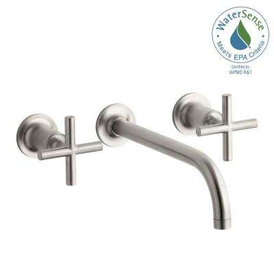 Purist Wall Mount 2-Handle Low-Arc Water-Saving Bathroom Faucet Trim with 90 Degree Angle Spout in Vibrant Brushed