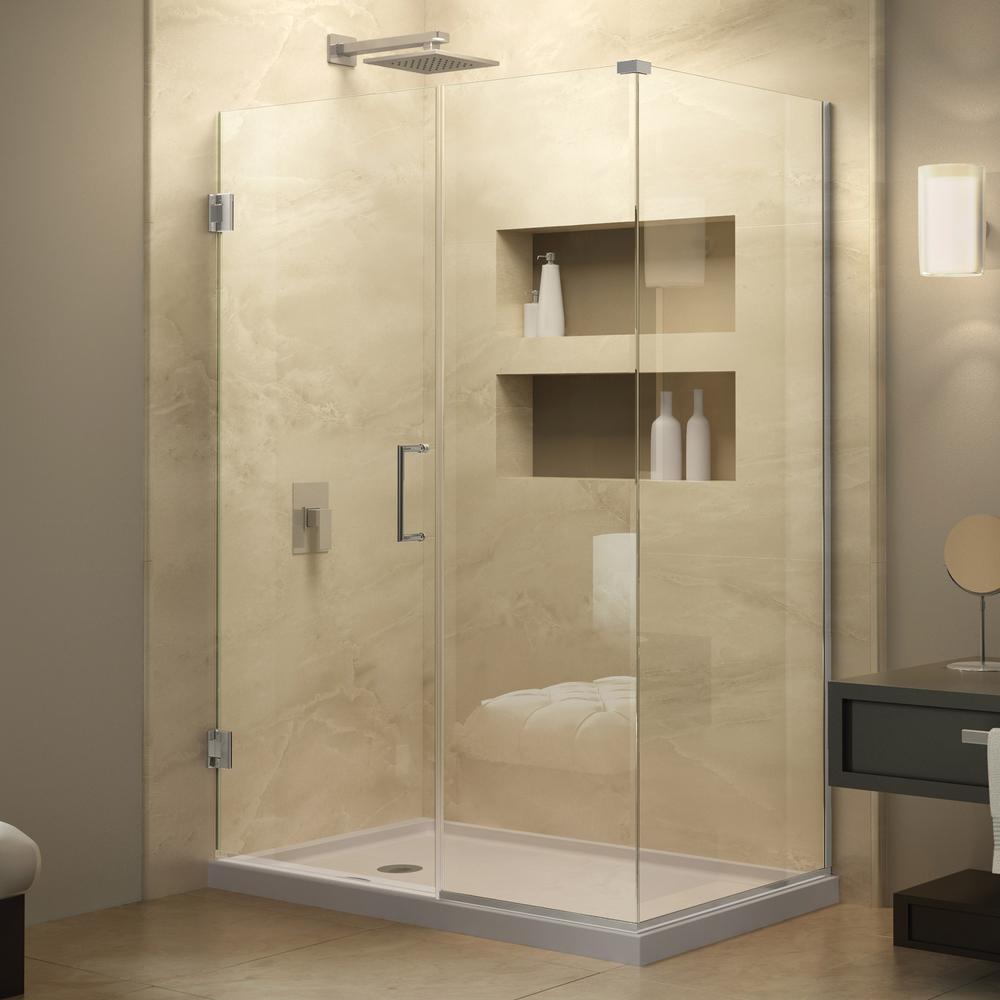 Unidoor Plus 34-3/8 in. x 58-1/2 in. x 72 in. Hinged Shower Enclosure in Chrome