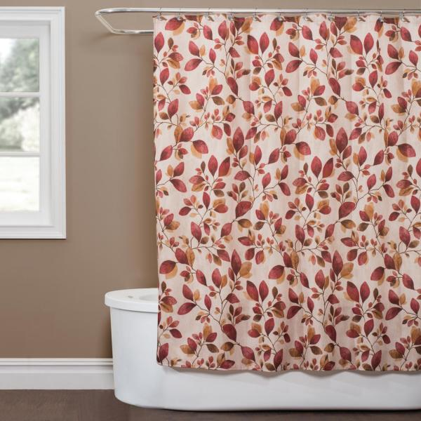 Saturday Knight Faithful Leaves 72 in. Shower Curtain in Red T1571000200001