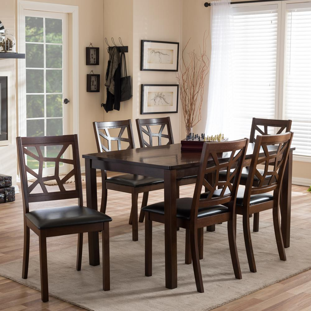 Dining Sets Black: Baxton Studio Mozaika 7-Piece Dark Brown Faux Leather