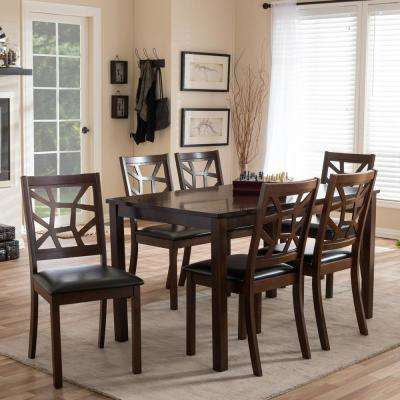 Mozaika 7 Piece Dark Brown Faux Leather Upholstered Dining Set