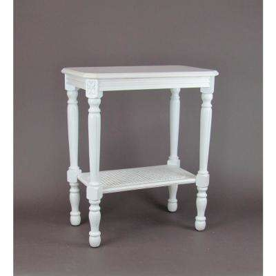 White Side Table with Shelf