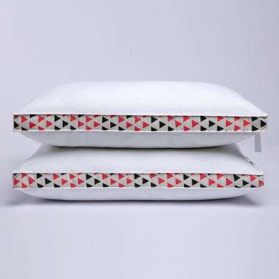 Geometrical Rosy Black Gusseted Polyester King Pillow with 100% Cotton Shell (Set of 2)