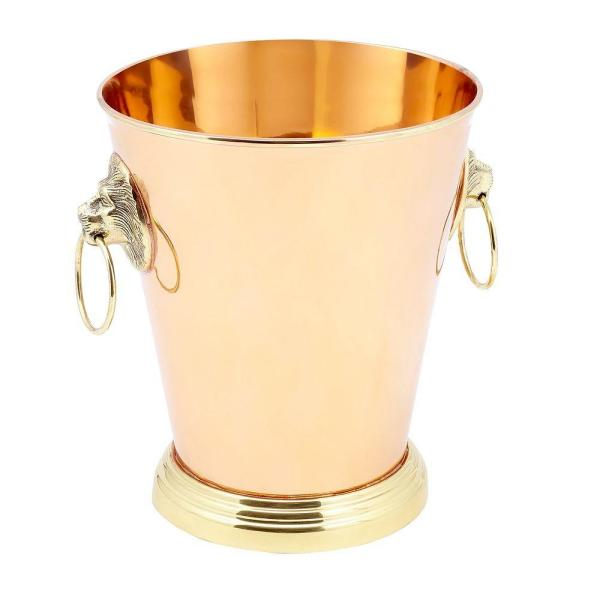 Old Dutch 8-1/2 in. x 7-3/4 in. x 9 in. 1 Gal. Solid Copper Lion Head Champagne Cooler