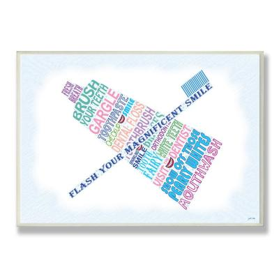 """12.5 in. x 18.5 in. """"Flash Your Smile Typography Bathroom"""" by Janet White Printed Wood Wall Art"""