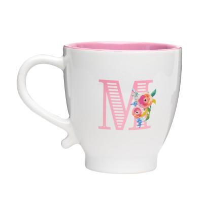 Monogram M 20 oz. White-Pink Ceramic Coffee Mug
