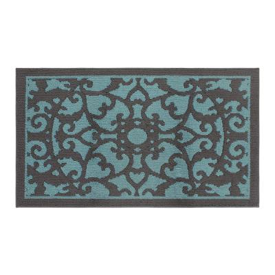 Rosette 36 x 60 in. Loop Accent Rug, Blue Lagoon/Dk Grey