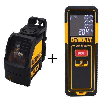 Cross Line Green Laser Level with Bonus 65 ft. Laser Distance Measurer