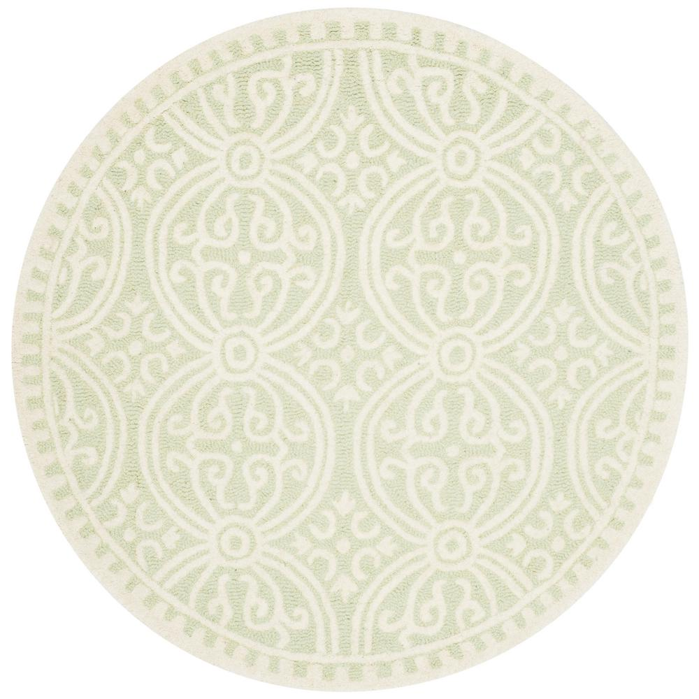 Cambridge Light Green/Ivory 4 ft. x 4 ft. Round Area Rug