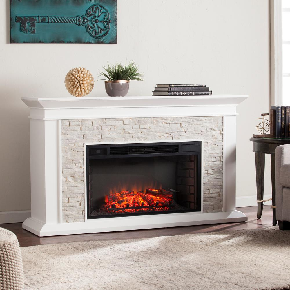 Ithaca 60.25 in. W Faux Stacked Stone Electric Fireplace in White ...