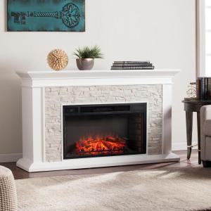 Ithaca 60.25 inch W Faux Stacked Stone Electric Fireplace in White by