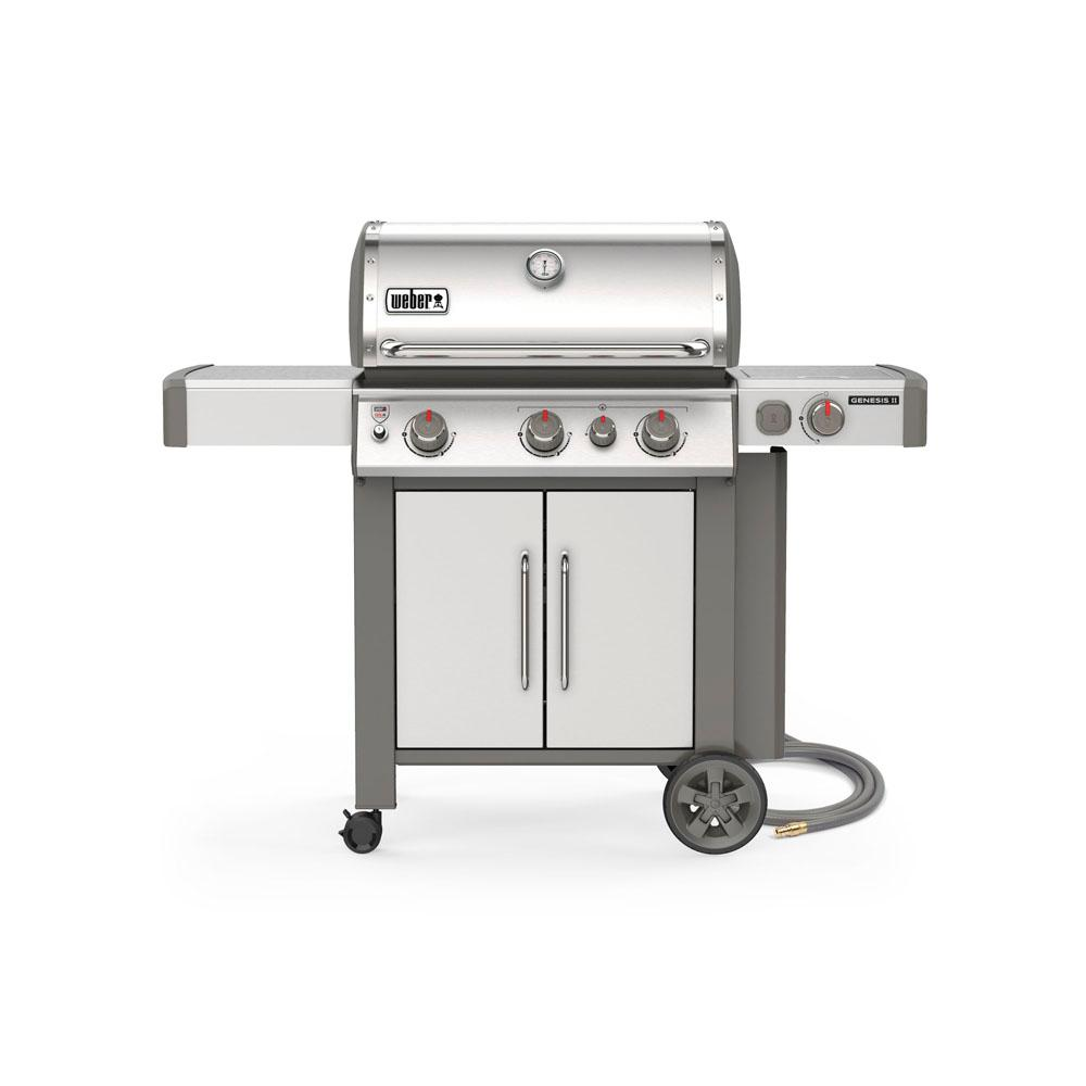 Weber Natural Gas Bbq.Weber Genesis Ii S 335 3 Burner Natural Gas Grill In Stainless With Built In Thermometer And Side Burner
