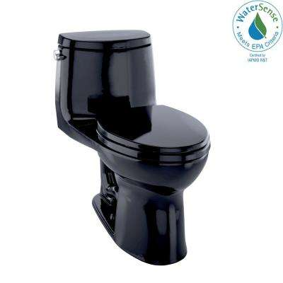 UltraMax II 1-Piece 1.28 GPF Single Flush Elongated Toilet in Ebony