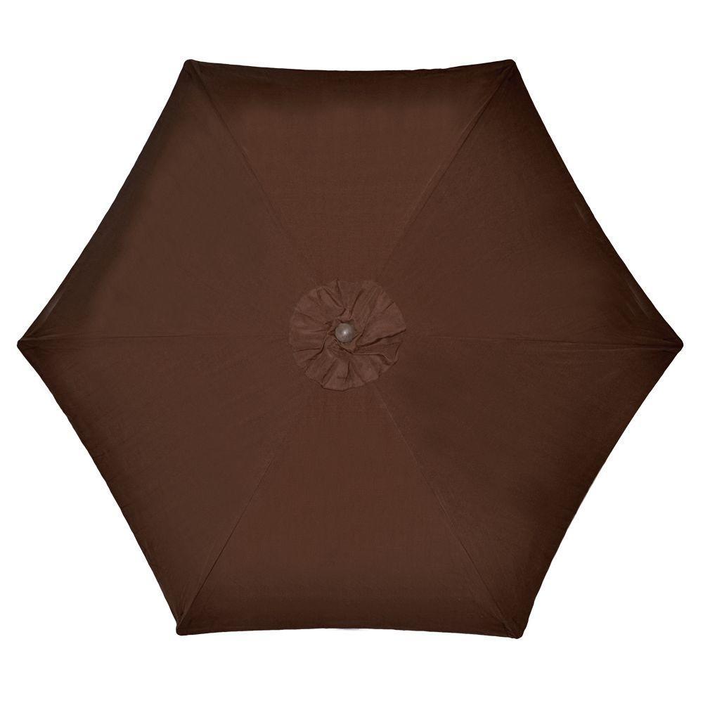 9 ft. Wood Patio Umbrella in Brown