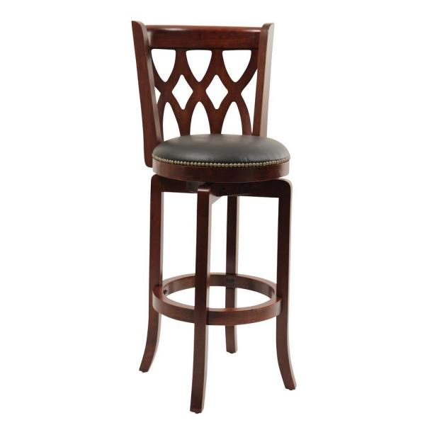 Boraam Cathedral 29 in. Cherry Swivel Cushioned Bar Stool 40329