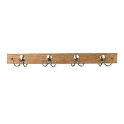 Maple with Satin Nickel Stratford 24 in. L Decorative 4-Double Hooks Wall Mount Wood Rack