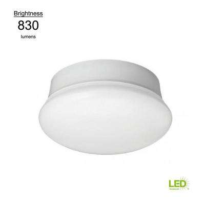 Lightbulb Replacement Fixture 7 in. Round White 60 Watt Equivalent Integrated LED Flushmount (Daylight)