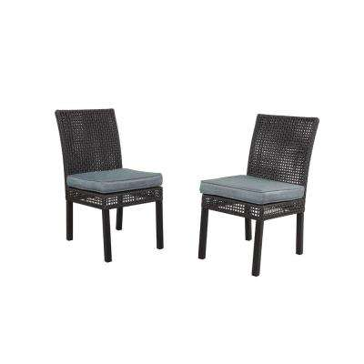 Fenton Patio Dining Chair with Peacock and Java Cushion (2-Pack)