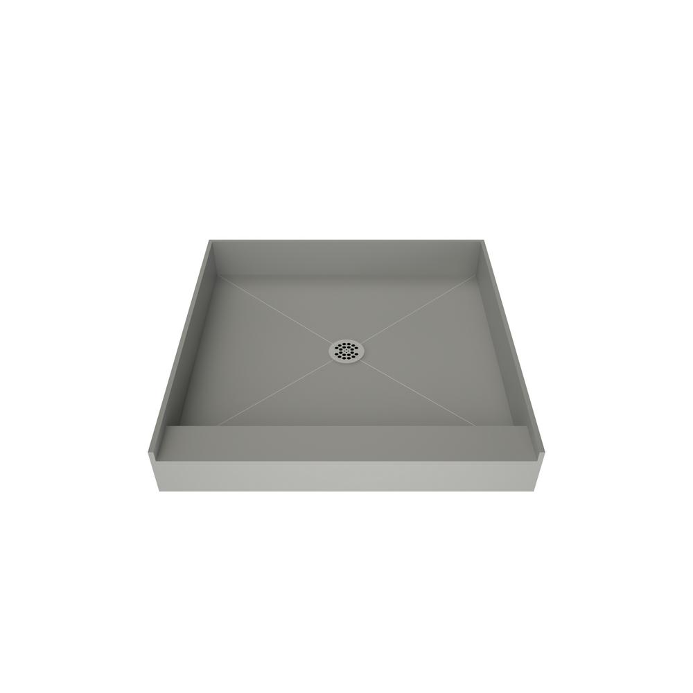 Tile Redi Redi Base 48 in. x 48 in. Single Threshold Shower Base in Grey with Center Drain