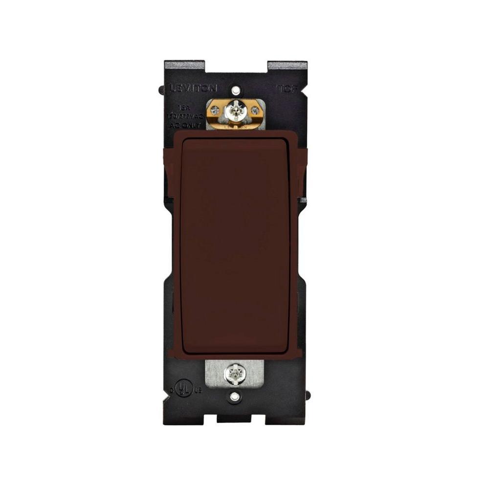 Leviton Renu 15 Amp 3-Way Rocker Switch - Walnut Bark-DISCONTINUED