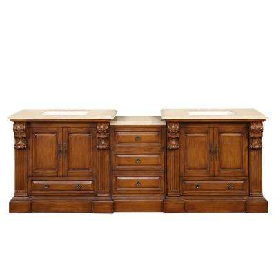 95 in. W x 23 in. D Vanity in Cherry with Stone Vanity Top in Travertine with White Basin