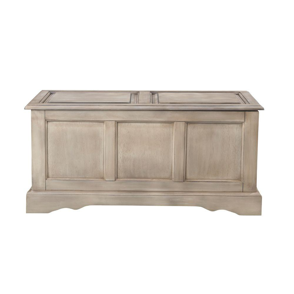 Home Decorators Collection Cameron Driftwood Bench with Blanket Chest-DISCONTINUED
