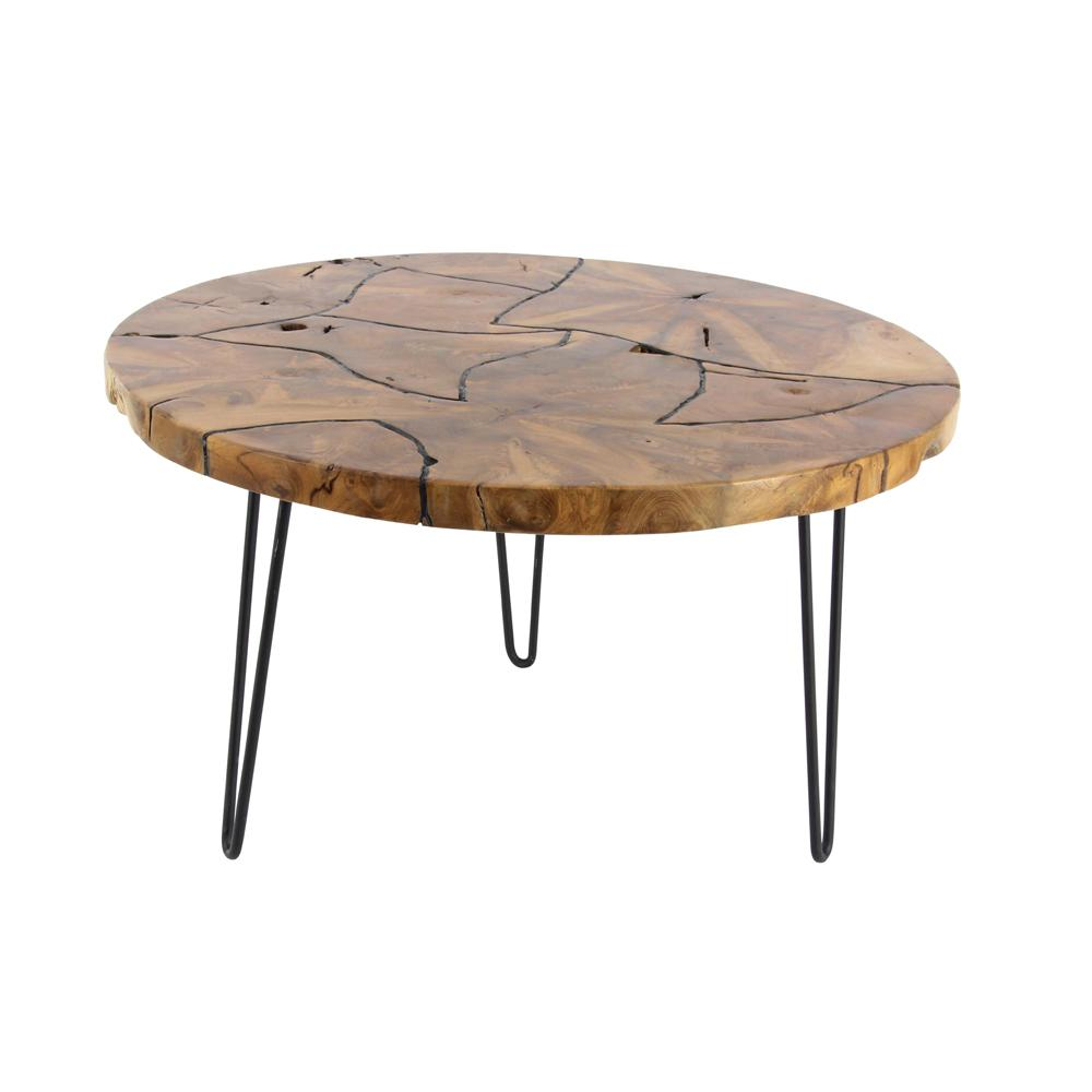 19 in x 32 in rustic iron and teak wood round brown coffee table 42075 the home depot. Black Bedroom Furniture Sets. Home Design Ideas