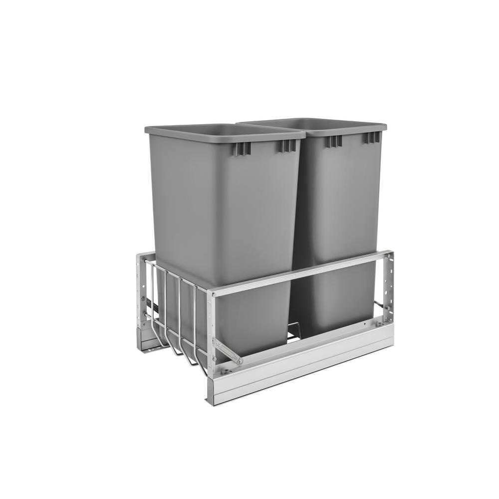 Rev-A-Shelf 22.94 in. H x 14.81 in. W x 22.13 in. D Double 50 Qt. Pull-Out Brushed Aluminum and Silver Waste Container