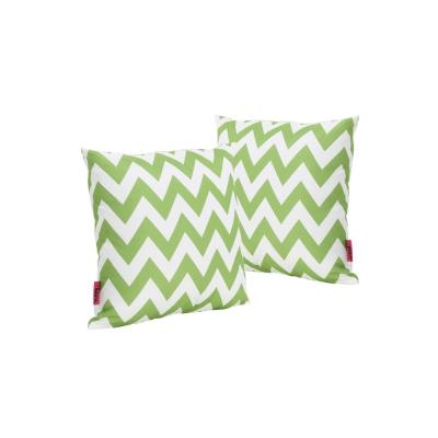Marisol Green and White Chevron Square Outdoor Throw Pillow (2-Pack)