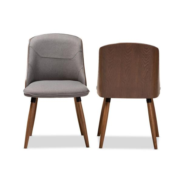 Baxton Studio Eris Mid-Century Contemporary Grey Fabric Upholstered and Walnut Finished 2-Piece Dining Chair Set