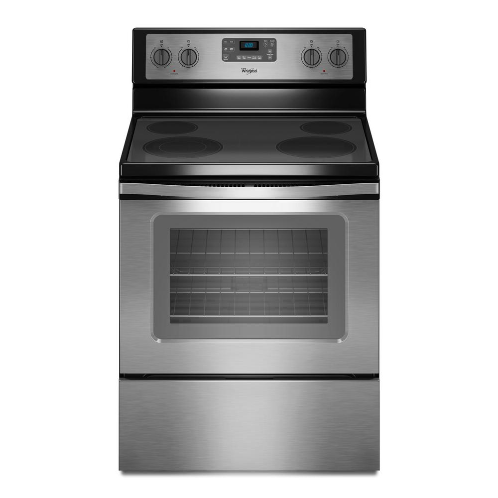 Whirlpool 5 3 Cu Ft Electric Range With Self Cleaning Oven In Stainless Steel