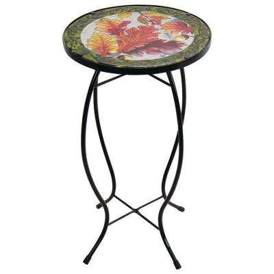 12 in. Leaves Glass Table