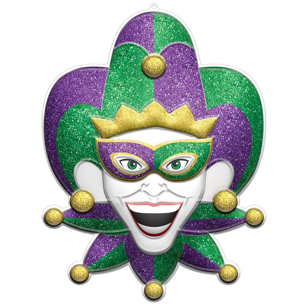 28 in. Mardi Gras Plastic Jester 3D Decoration (2-Pack)