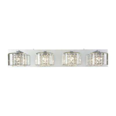 Springvale 4-Light Polished Chrome with Clear Crystal and Glass Bath Light